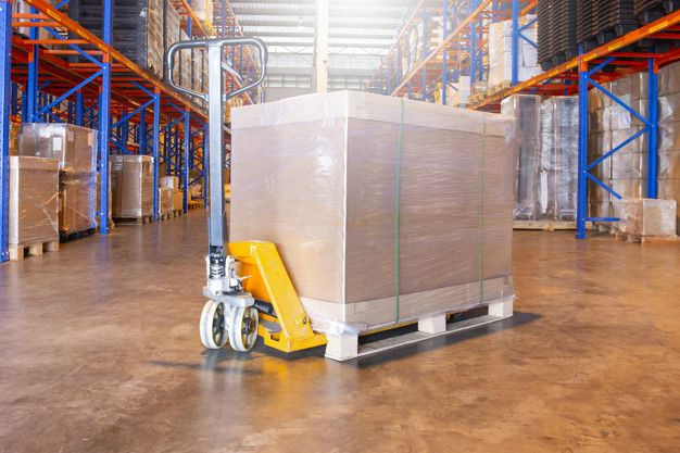 Warehouse Interior With Hand Pallet Truck And The Shipment Pallet Interior Trucks Pallet