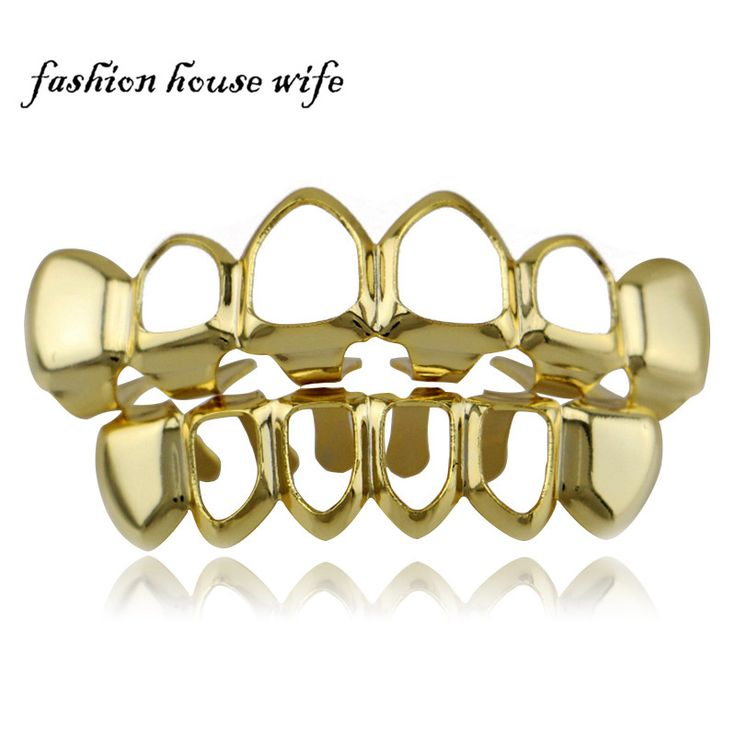 Fashion House Wife Gold/Silver Top & Bottom Hollow Teeth Grillz Smooth Plane Joker Mouth Teeth Caps Halloween Gift NL0009