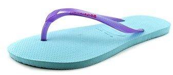 Havaianas Slim Logo Pop-up Women Open Toe Synthetic Blue Flip Flop Sandal.