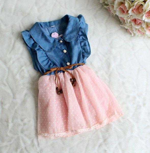 Wholesale Vestidos da menina de 50902 Crianças Roupas de Moda Jeans Ponto de Gaze sem Mangas, Vestidos Para Menina de 2-6T, Free shipping, $8.0/Peça | DHgate Mobile