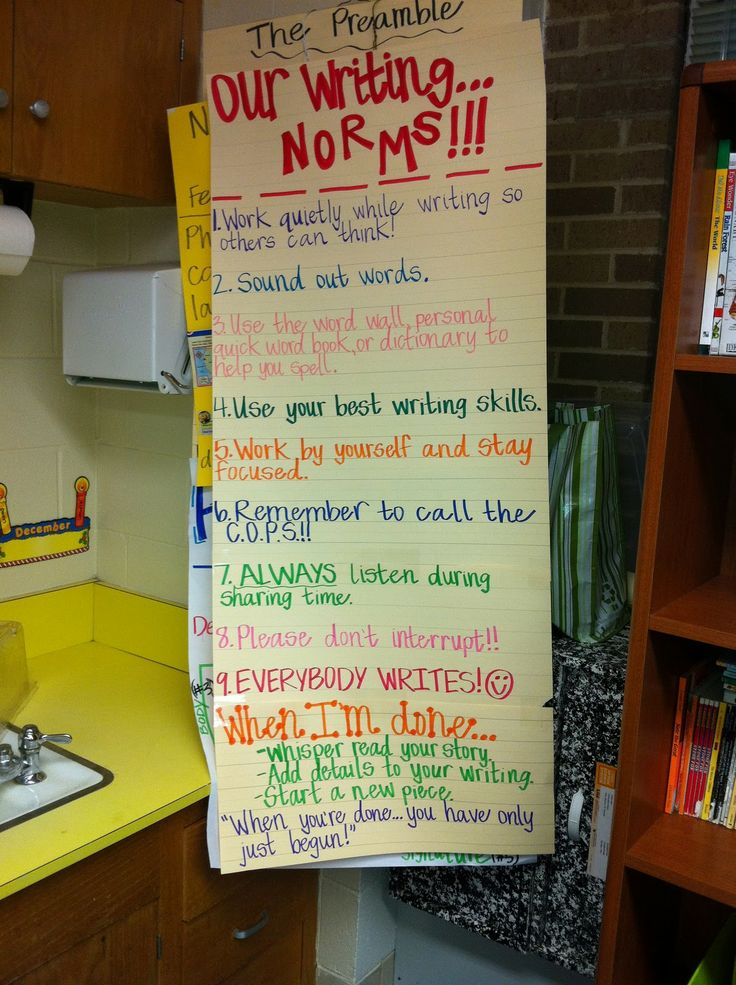 Writing Norms...good idea to set up with the kids at the beginning of the year
