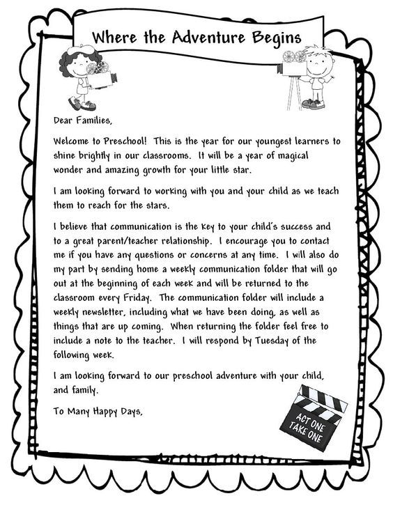 Learning and Teaching With Preschoolers: Welcome Parents Letter: