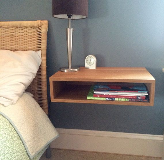 Floating Nightstand / Bedside Table in White Oak, Mid-Century Modern Inspired