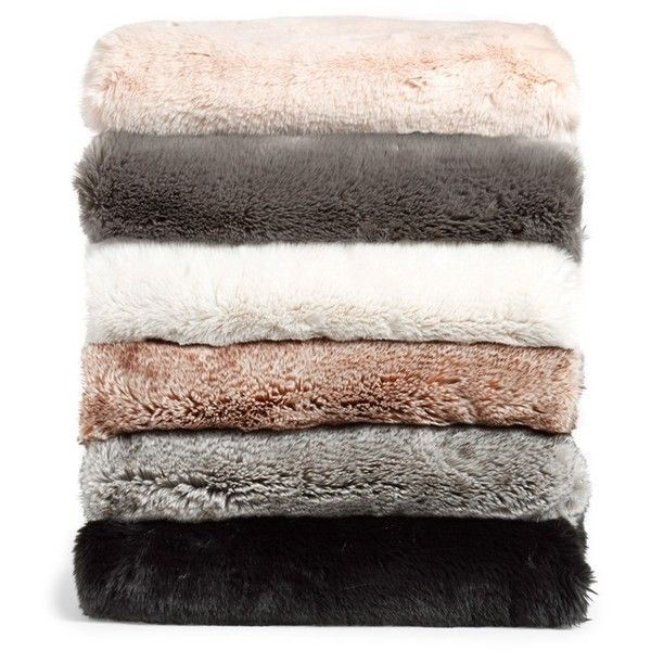 Nordstrom at Home Faux Fur Throw (970 DKK) ❤ liked on Polyvore featuring home, bed & bath, bedding, blankets, fillers, decor, accessories, faux fur blanket, plush bedding and plush blanket