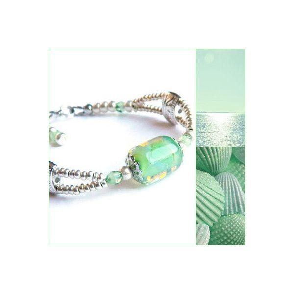 Faux Opal Lampwork bracelet, Mint Glass bead bracelet, Lampwork focal,... ($30) ❤ liked on Polyvore featuring jewelry, bracelets, boho bangles, mint jewelry, glass bead jewelry, bohemian jewelry and imitation jewelry