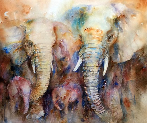 A beautiful elephant family huddled together, as the skies turn dark.I love painting African elephants in expressive watercolor.This is a large original