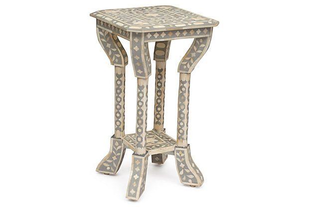 Bone-Inlay Side Table, Gray On OneKingsLane.com