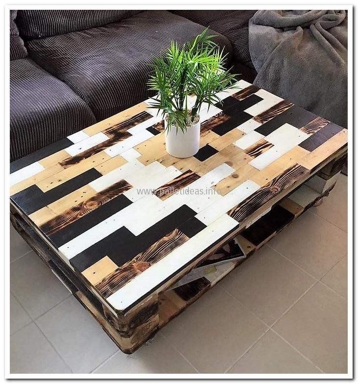 Coffee tables available in the market are no doubt stylish, but the one made with the home owner's own hands is impressive as it gives a chance to add anything depending on the creativity. The coffee table made with the reclaimed wooden pallets shown here is appealing as the combination of colors is looking attractive.