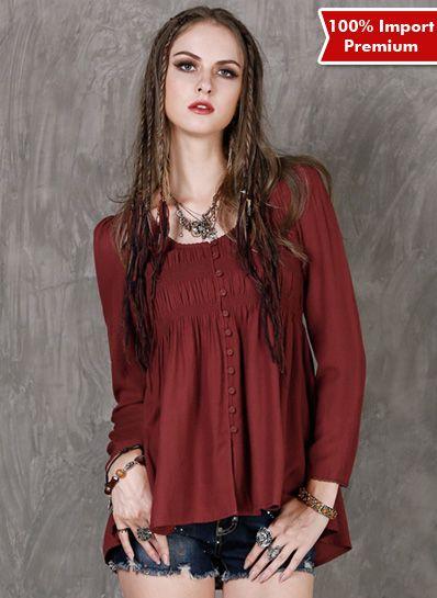 Blouse / Atasan Import Premium Linen 593PR  | shopasista.com | Distributor baju import | distributor baju korea | grosir baju korea | grosir baju import | supplier baju korea tangan pertama | importir baju korea