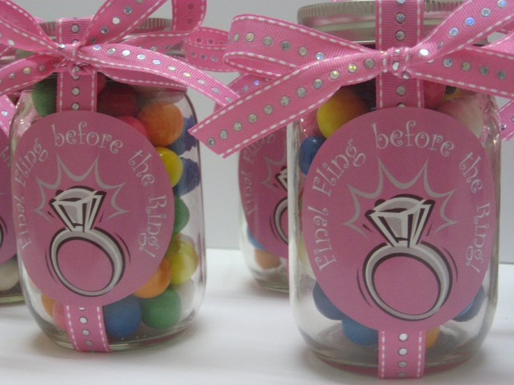 Sweetly Wrapped Final Fling Before The Ring Mason Jar W Candy 20 Pint Size CandyMason JarsBachelorette Party FavorsShower