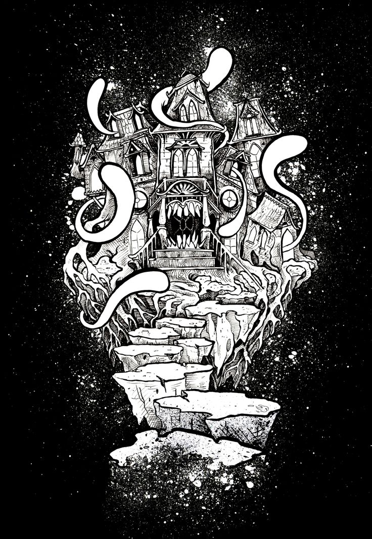 'haunted house'  horror illustration by glönn this one is also available as shirt