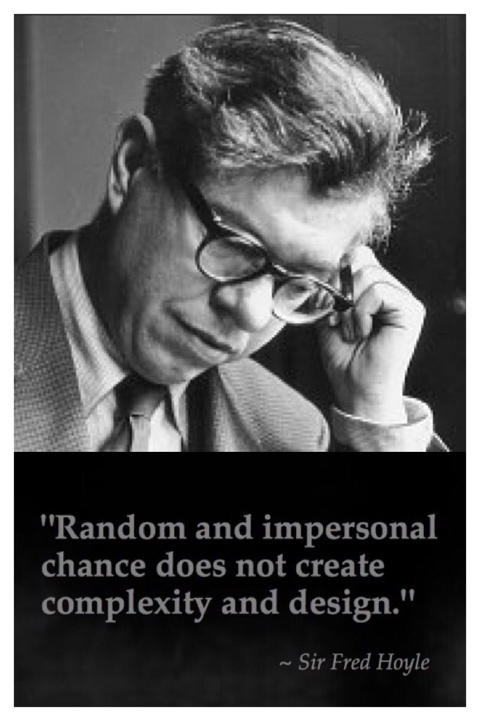 """Random and impersonal chance does not create complexity and design."" - Sir Fred Hoyle - British Academy of Science - Leading mathematician and astronomer."