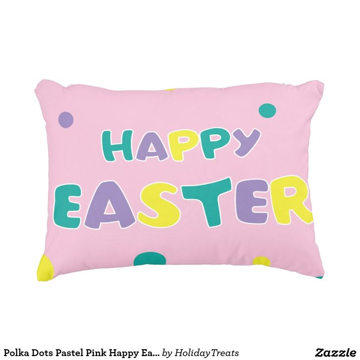 Polka Dots Pastel Pink Happy Easter Accent Pillow