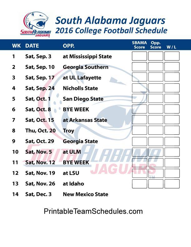 South Alabama Jaguars  2016 College Football Schedule Print Here - http://printableteamschedules.com/collegefootball/southalabamajaguars.php