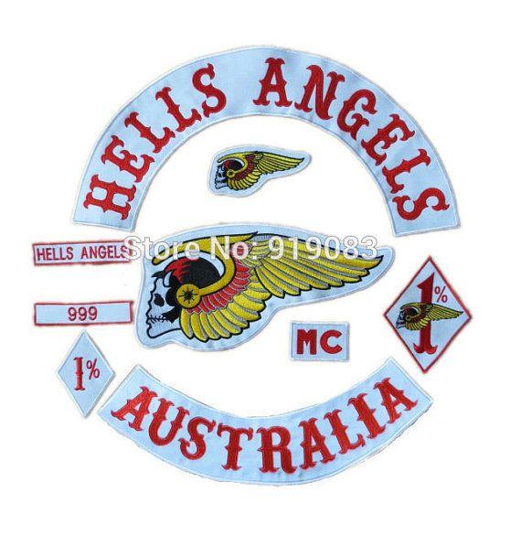 16 5 huge hells angels australia embroideried iron on. Black Bedroom Furniture Sets. Home Design Ideas