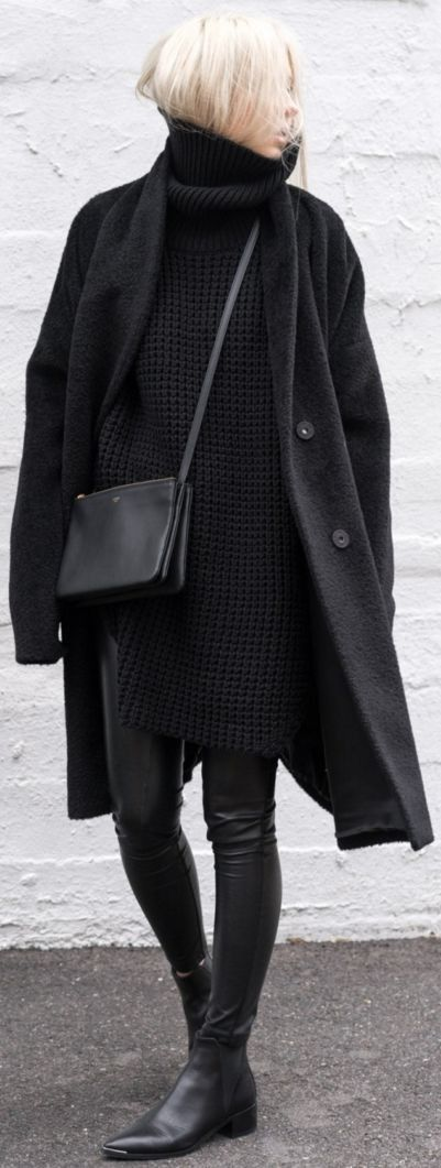 Coozy and Comfy Outfit in Everything Black | All Black Everything Winter Street Style | F I G T N Y
