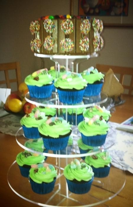 Birthday cupcakes with sour worms