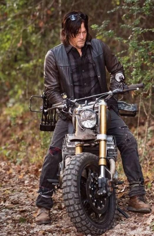 Daryl just got a new bike. (and Norman is being ribbed by his director for almost keeling over with that thing and getting injured - - yet again...)