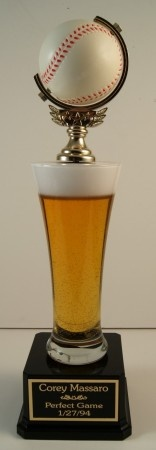 Beer+Baseball... They go hand in hand. Great fantasy baseball trophy