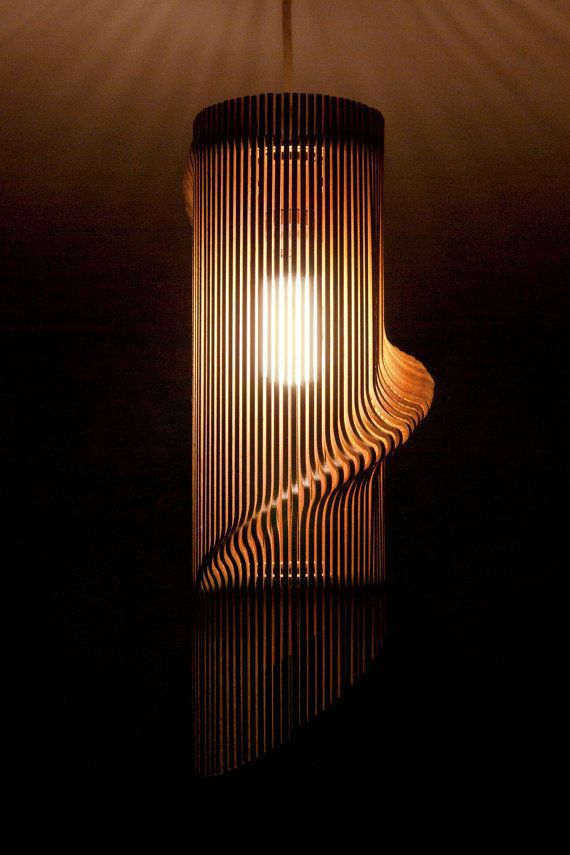 Twisted Lasercut Wooden Lampshade Perfect For Any Room, It Creates A Unique  Focal Point And Casts Beautiful, Intricate Shadows On Walls And