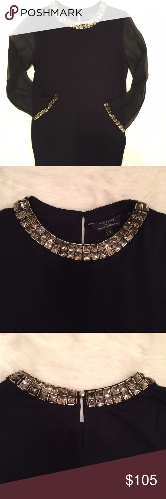 Ted Baker London Blouse NWOT. Size 0/ fits US size 2. Beautiful embellished neckline and wrist. Silk sleeves. Ted Baker London Tops Blouses