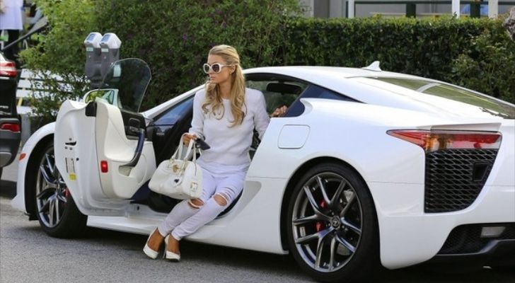 Paris Hilton Dresses to Match Her White #Lexus LFA
