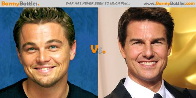 Leonardo DiCaprio Vs Tom Cruise. So here is yet another battle of the Hollywood hunks as we have yet another two of the film industry's most successful and sought after male actors.  CLICK HERE TO VOTE: http://www.barmybattles.com/2013/06/02/leonardo-dicaprio-vs-tom-cruise/