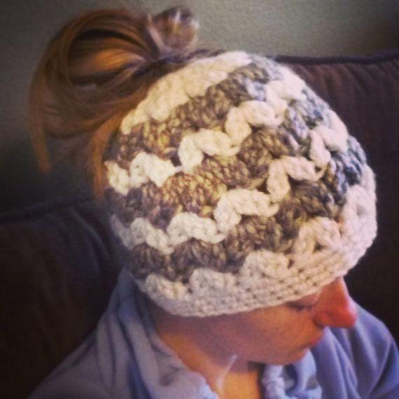 BUN BEANIE hat for high ponytails or messy buns  by ThreeBabyBears