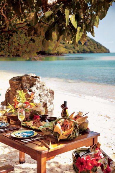Picnic on Tuvarua Beach in the Fiji Islands: Tuburua Beach, Lalai Picnic, Fiji Picnic, Ahhhh Beaches, Fiji Islands, Picnics, Beach Picnic