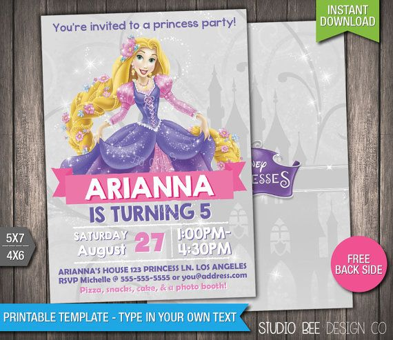 Disney Princess Rapunzel Invitation - INSTANT DOWNLOAD - Printable Tangled Birthday Invite - DIY Personalize & Print - (PRin07)