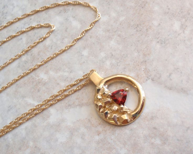 14K Garnet Necklace Yellow Gold Nugget Circle Hand Made Artisan Made by cutterstone on Etsy #goldnugget #garnetnecklace #artisanmade #14Kgold