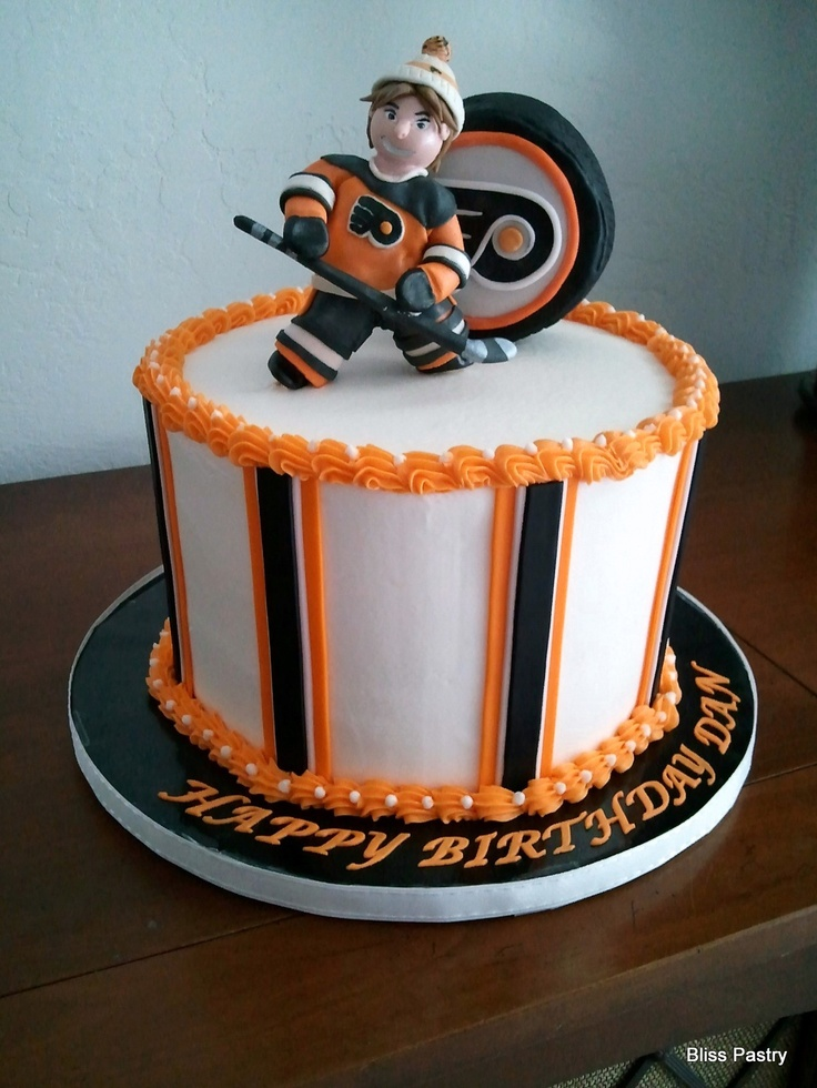 Philadelphia Flyers Cake - my hubby's next birthday cake, but it will need a goalie on top