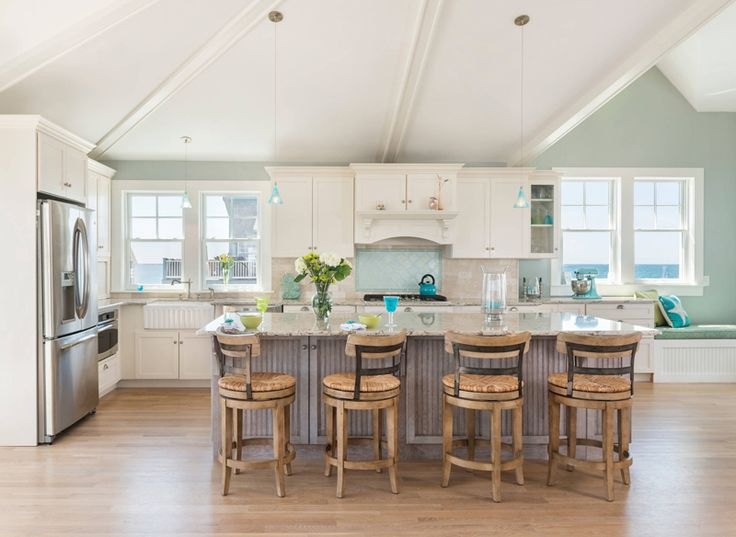 beautiful coastal kitchen with turquoise accents