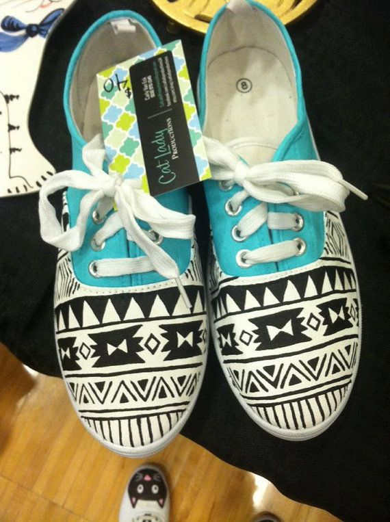 Hand-painted canvas shoes in turquoise, black, and white, with Aztec/southwestern pattern. These are womens SIZE 8. Painted with acrylic paint