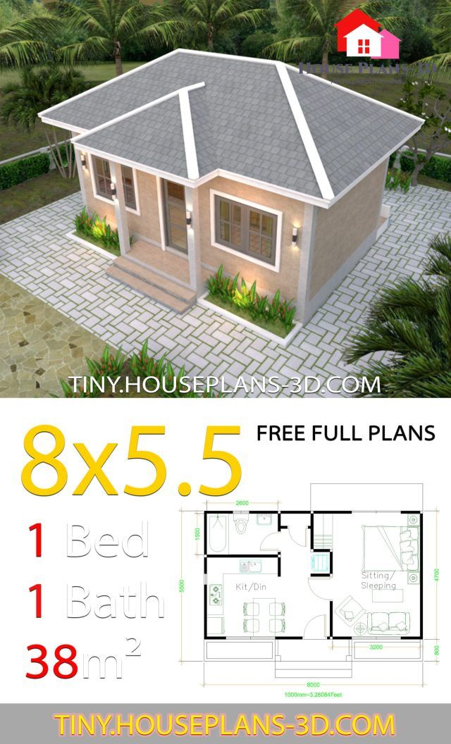 Small House Plans 8x5 5 With One Bedrooms Gross Hipped Roof Tiny House Plans Small House Plans Tiny House Plans Small House