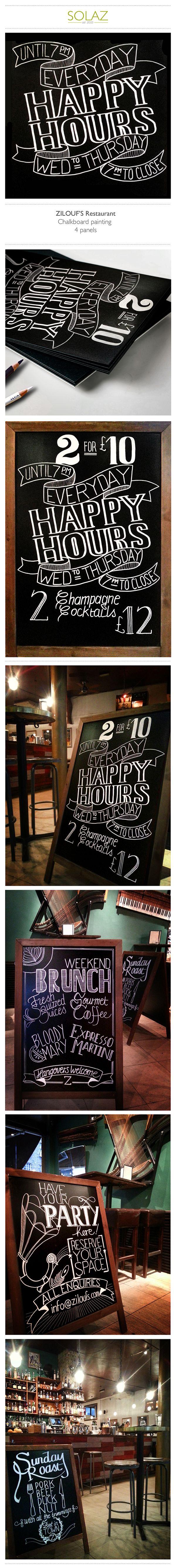 ZILOUF'S Restaurant Chalkboard painting on Behance #handlettering #typography #restaurant // designbysolaz.com