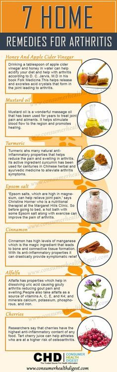 """What to take for arthritis pain ? What is good for arthritis pain ? 7 Home Remedies for Arthritis Infographic """"Are you tired of dealing with arthritis? If yes, then stop here to learn these 7 home remedies that help you to get relief from #Arthritis joint pain """" Honey and apple cider vinegar, mustard oil, turmeric, epsom salt, cinnamon, alfalfa, cherries Comment: """" I would add ginger to the list"""""""