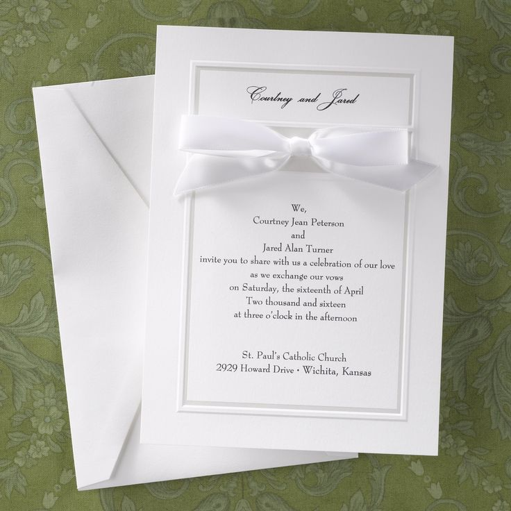 we would like to invite you celebrate our wedding in december0th%0A The simple  pearlized border on this bright white card separates your  invitation wording from your names at the top