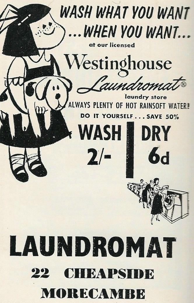 Laundromat advert, Morecambe, 1962