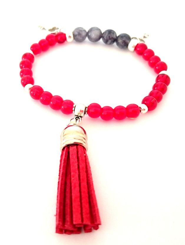 Bracelet, beads, bead, pendant, red, bransoletka, koraliki, klucz, zawieszka, key,