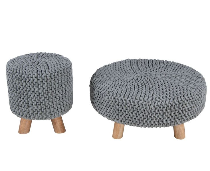 Amazon.de: Homescapes Moderner Strick Sitzhocker hellblau Fußhocker Schemel 32 x 32 x 42 cm mit