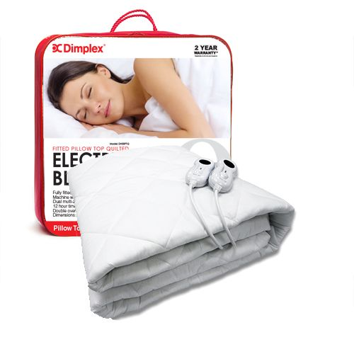 Queen Size Pillow Top Electric Blanket  made out of non-woven polyester that is machine washable, with detachable controls, 2 years warranty and double overheat protection with Sensorsafe technology.