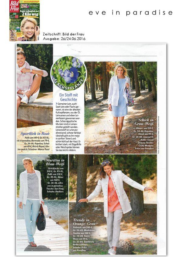 Die #Zeitschrift 'Bild der Frau' zeigt super, wie schnell man mit #Cardigan, #Longsleeve und #Hose von eve in paradise ein wunderschönes Blau-Weiß-Outfit kreieren kann! ☺