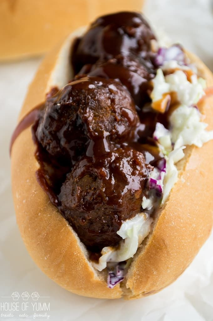 meatball sub got a southern makeover with sweet and tangy BBQ sauce and a creamy cole slaw! Perfect family dinner recipe! Plus can be made in the slow coo
