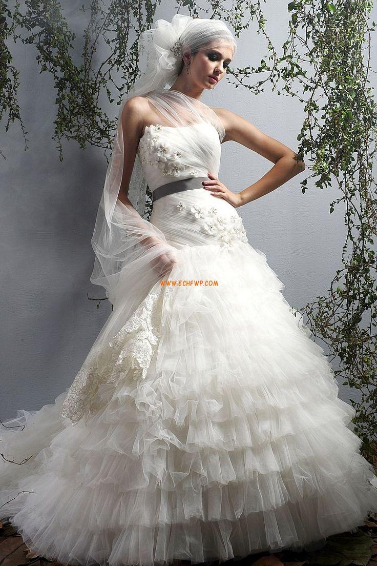 Na jedno ramínko Okouzlijící & dramatický Bez rukávů Levné svatební šaty
