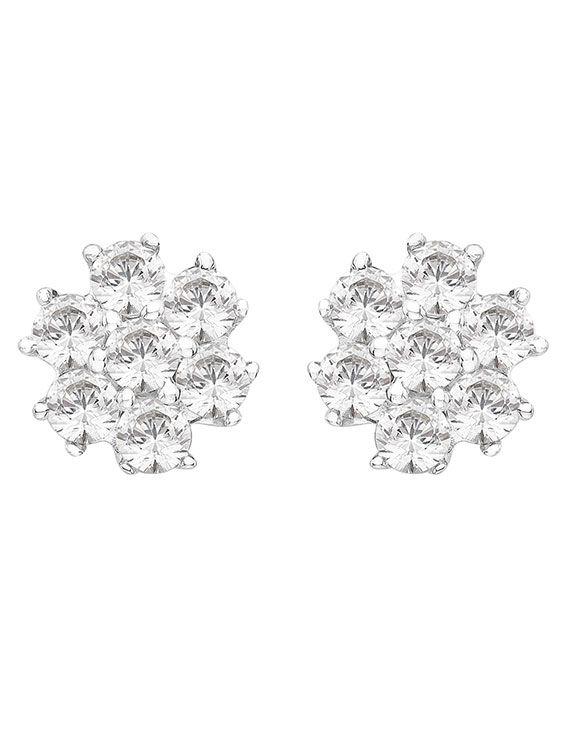Rhodium Plated Silver & Swarovski Zirconia Cluster Studs