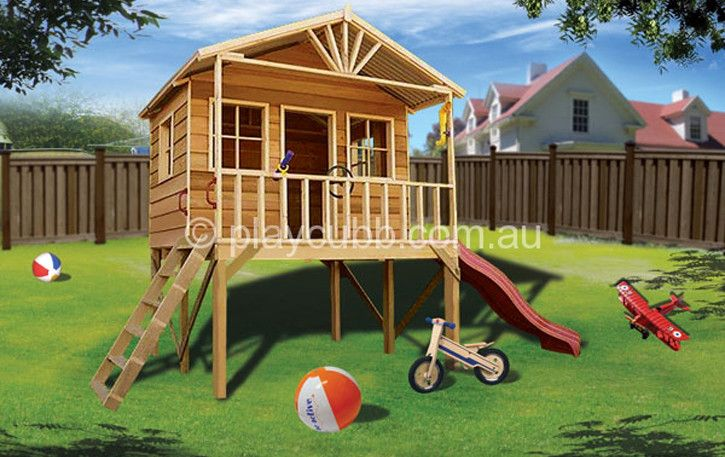 The Wattle Cubby house from PlayCubb Australia offers wooden kids cubby houses, forts, toys and swing sets for playing outside in your backyard - cubby kits for sale online.