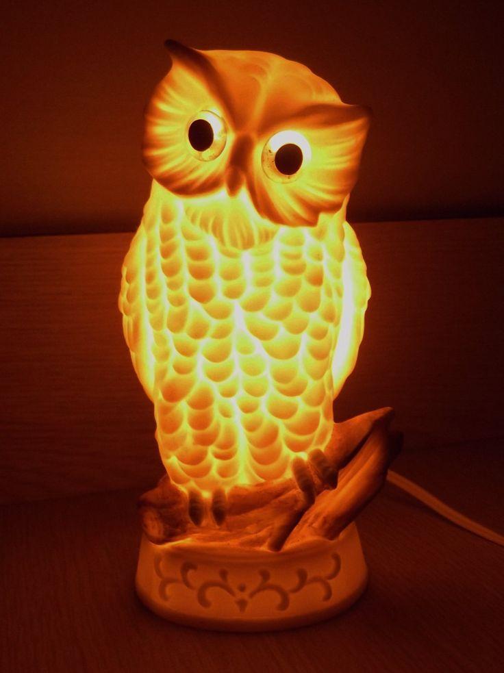 Ceramic White Owl Night Light Knobler Japan Vintage Owl Nite Light by SusieSellsVintage on Etsy