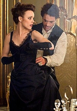 """Holmes to the rescue.  Rachel McAdams (Irene) and Robert Downey Jr. (Holmes) in a deleted scene from """"Sherlock Holmes."""""""