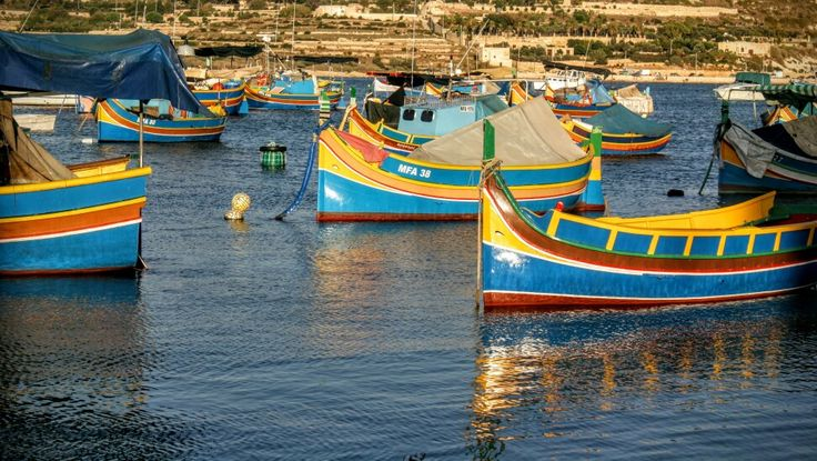 Marsaxlokk fishing village and luzzu boats
